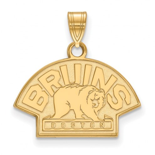 Boston Bruins Sterling Silver Gold Plated Small Pendant