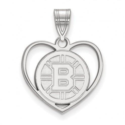 Boston Bruins Sterling Silver Heart Pendant