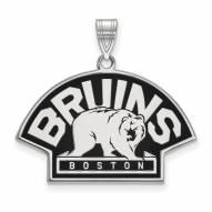Boston Bruins Sterling Silver Large Enameled Pendant
