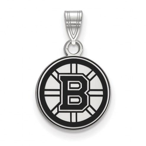 Boston Bruins Sterling Silver Small Enamel Pendant