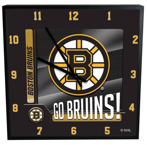 Boston Bruins Team Black Square Clock
