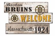 Boston Bruins  Welcome 3 Plank Sign