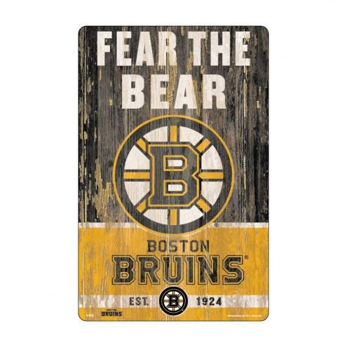 Boston Bruins Slogan Wood Sign