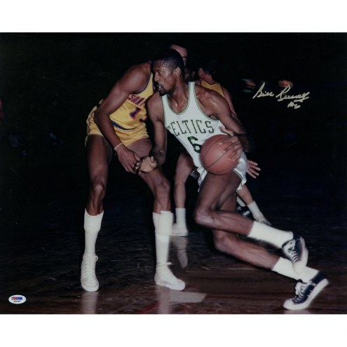 Boston Celtics Bill Russell Signed Dribbling 16 x 20 Photo