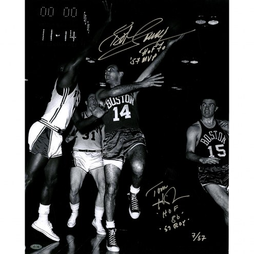 "Boston Celtics Bob Cousy and Tom Heinson Signed 16"" x 20"" Photo"