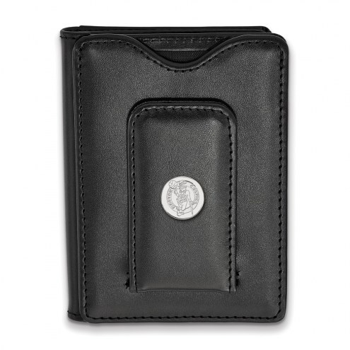 Boston Celtics Sterling Silver Black Leather Wallet