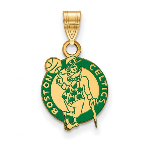Boston Celtics Sterling Silver Gold Plated Small Enameled Pendant