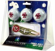 Boston College Eagles Gold Crosshair Divot Tool & 3 Golf Ball Gift Pack