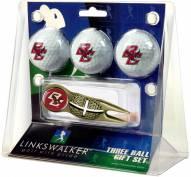 Boston College Eagles Gold Crosshair Divot Tool & 3 Golf Ball Gift Pack