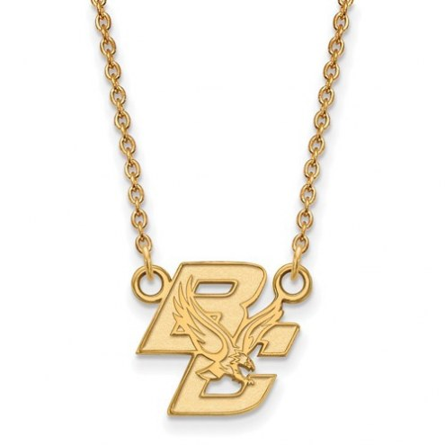 Boston College Eagles Sterling Silver Gold Plated Small Pendant with Necklace