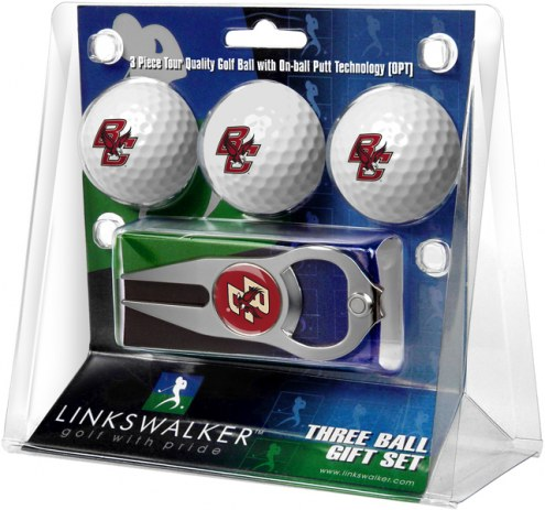 Boston College Eagles Golf Ball Gift Pack with Hat Trick Divot Tool