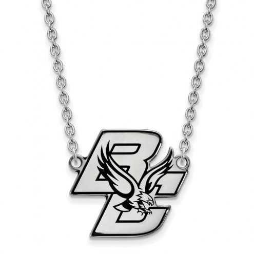 Boston College Eagles Sterling Silver Large Enameled Pendant Necklace