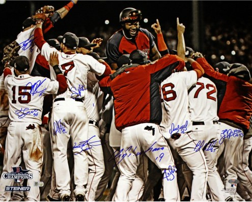 Boston Red Sox Boston Red Sox Multi Signed 2013 WS Celebration Horizontal 20 x 24 Photo (11 Sigs)
