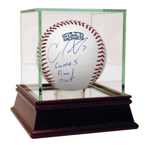 Boston Red Sox Christian Vazquez Signed 2018 World Series Logo Baseball w/ Game 5 Final Out