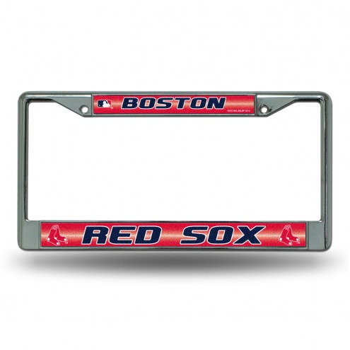 Boston Red Sox Chrome Glitter License Plate Frame