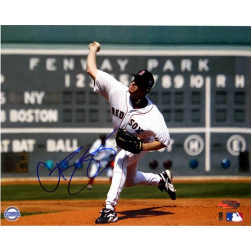 """Boston Red Sox Curt Schilling First Game vs Yankees Scoreboard Signed 16"""" x 20"""" Photo"""