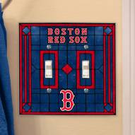 Boston Red Sox Glass Double Switch Plate Cover