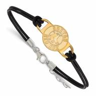 Boston Red Sox Gold Plated Sterling Silver Leather Bracelet