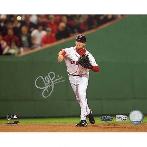 """Boston Red Sox Jed Lowrie 2008 Home Fielding Signed 16"""" x 20"""" Photo"""