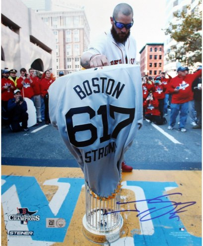 Boston Red Sox Jonny Gomes Signed World Series Trophy at Finish Line w/ Boston Strong Jersey 8 x 10 Photo