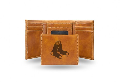 Boston Red Sox Laser Engraved Brown Trifold Wallet
