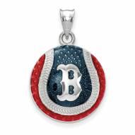 Boston Red Sox Sterling Silver Baseball Pendant