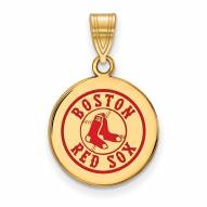 Boston Red Sox Sterling Silver Gold Plated Medium Pendant