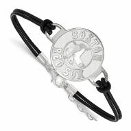 Boston Red Sox Sterling Silver Black Leather Bracelet