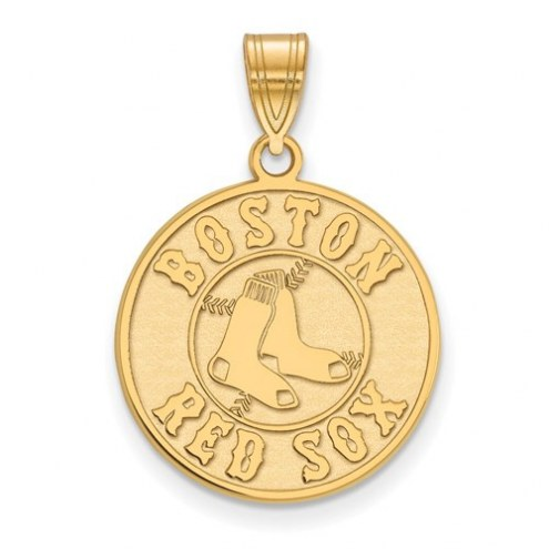 Boston Red Sox MLB Sterling Silver Gold Plated Large Pendant