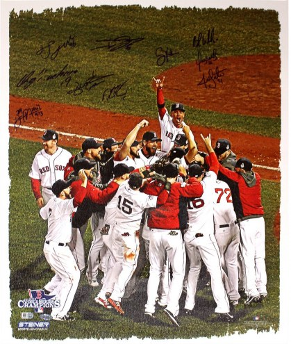 Boston Red Sox Multi Signed 2013 WS Celebration 16 x 20 Canvas (10 Sigs)