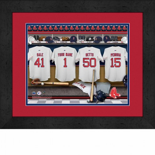 Boston Red Sox Personalized Locker Room 13 x 16 Framed Photograph