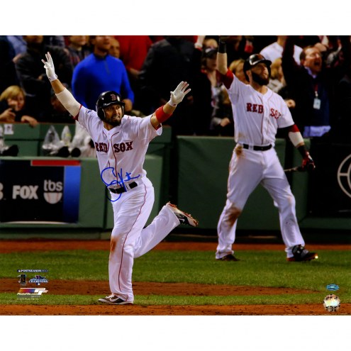 """Boston Red Sox Shane Victorino 13 WS Hands Up Signed 16"""" x 20"""" Photo"""