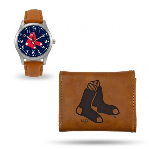 Boston Red Sox Sparo Brown Watch & Wallet Gift Set
