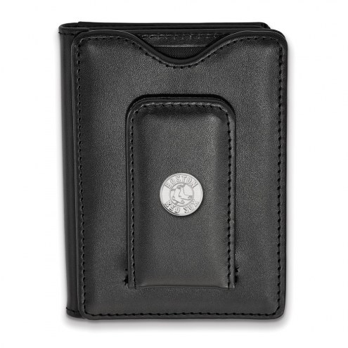 Boston Red Sox Sterling Silver Black Leather Wallet