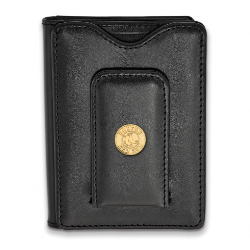 Boston Red Sox Sterling Silver Gold Plated Black Leather Wallet