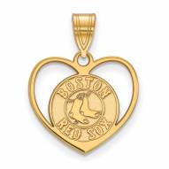 Boston Red Sox Sterling Silver Gold Plated Heart Pendant