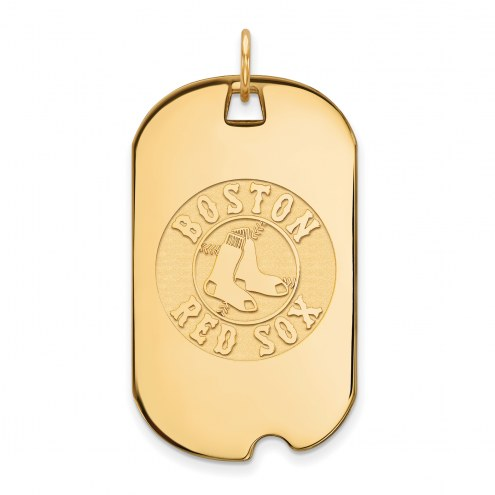 Boston Red Sox Sterling Silver Gold Plated Large Dog Tag