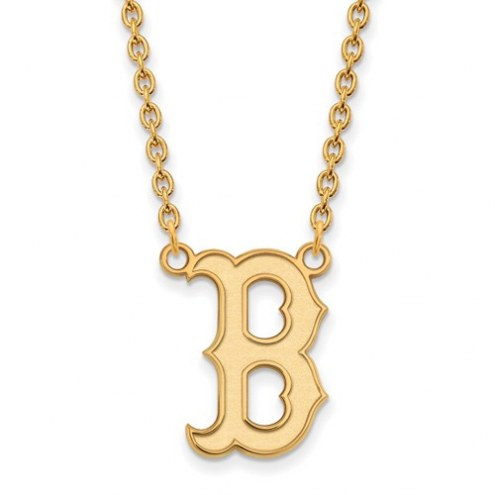 Boston Red Sox Sterling Silver Gold Plated Large Pendant Necklace