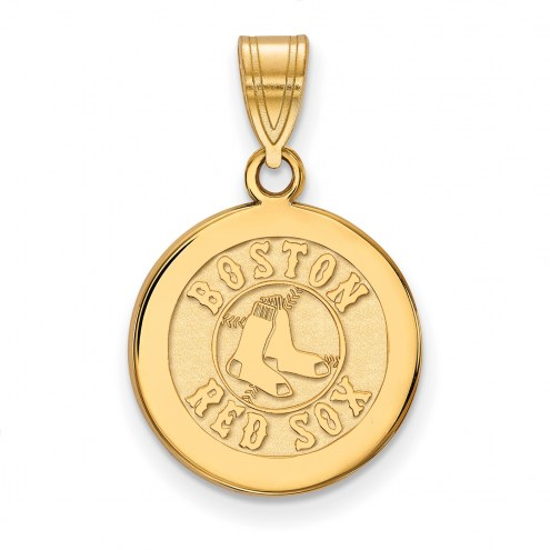 Boston Red Sox Sterling Silver Gold Plated Medium Disc Pendant