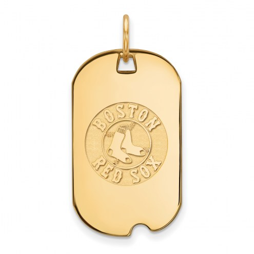 Boston Red Sox Sterling Silver Gold Plated Small Dog Tag