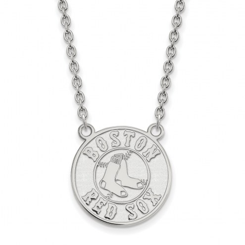 Boston Red Sox Sterling Silver Large Pendant Necklace