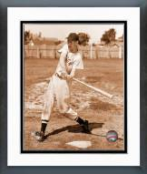 Boston Red Sox Ted Williams Sepia Swinging Framed Photo