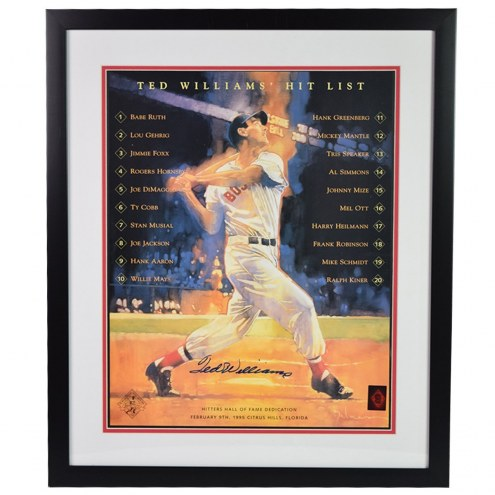 Boston Red Sox Ted Williams Signed and Framed 16 x 20 Hit List Poster Black Frame