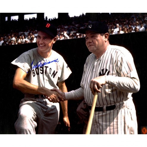 Boston Red Sox Ted Williams Signed Shaking Babe Ruth Hand 20 x 24 Photo