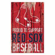 Boston Red Sox Proud to Support Wood Sign