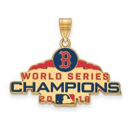 Boston Red Sox Sterling Silver Gold Plated Large Pendant