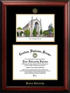 Boston Terriers Gold Embossed Diploma Frame with Campus Images Lithograph