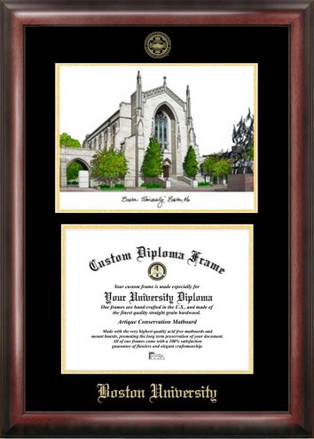 Boston Terriers Gold Embossed Diploma Frame with Lithograph