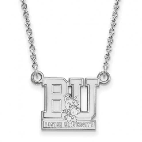 Boston Terriers Sterling Silver Small Pendant Necklace