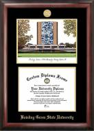 Bowling Green State Falcons Gold Embossed Diploma Frame with Campus Images Lithograph
